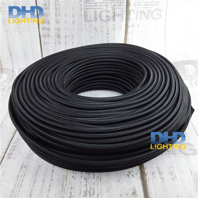Free shipping 3x075mm 3 cores black fabric electric wire pendant free shipping 3x075mm 3 cores black fabric electric wire pendant lamp cable table lamp greentooth Gallery