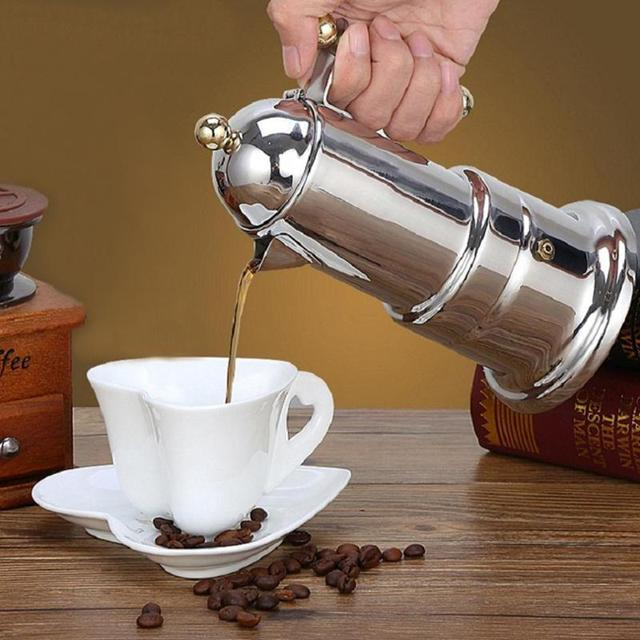 200ml Stainless Steel Coffee Pot Moka Coffee Maker Teapot Mocha Stovetop Filter Percolator Cafetiere Percolator Tool