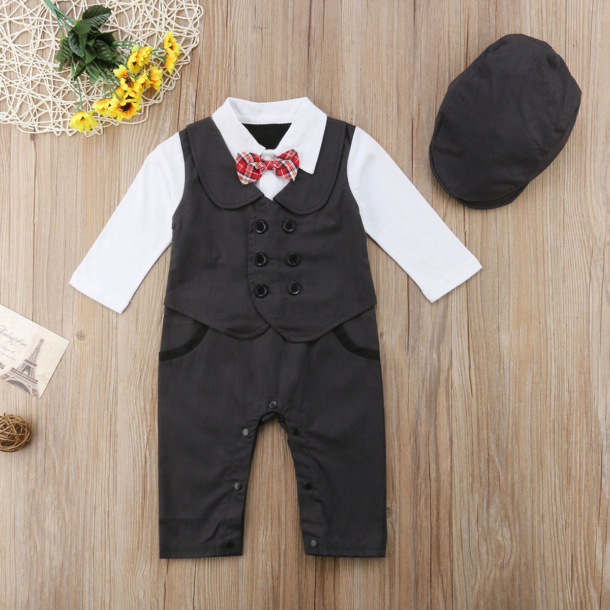 b08a5cf6190 Newly Toddler Baby Boy Formal Suit Party Wedding Tuxedo Gentleman Double  Breasted Romper Jumpsuit +Hats Outfit 0 24M-in Rompers from Mother   Kids  on ...