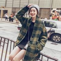 UNIQUEWHO для женщин обувь для девочек зеленый плед Длинные свободные полушерстяные пальто весенне зимняя верхняя одежда Винтаж Европейский