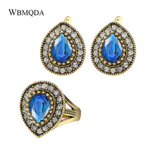 Gold-Ring Jewelry-Sets Wedding Vintage Bohemian Women Luxury Crystal Resin for 2pcs/Lot