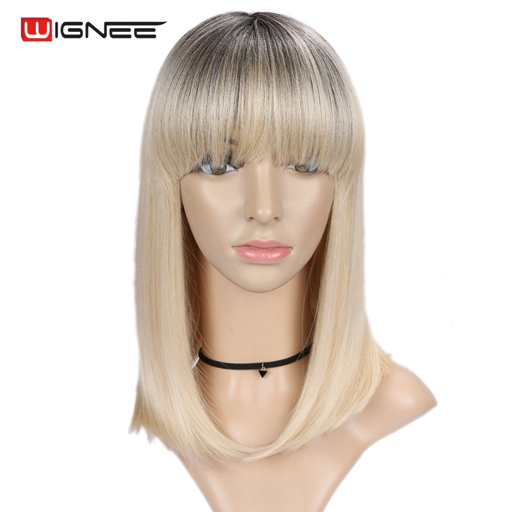 Wignee Short Straight Hair Synthetic Wigs With Bangs For Women High Temperature Heat Resistant Glueless Cosplay Hair Africa Wigs