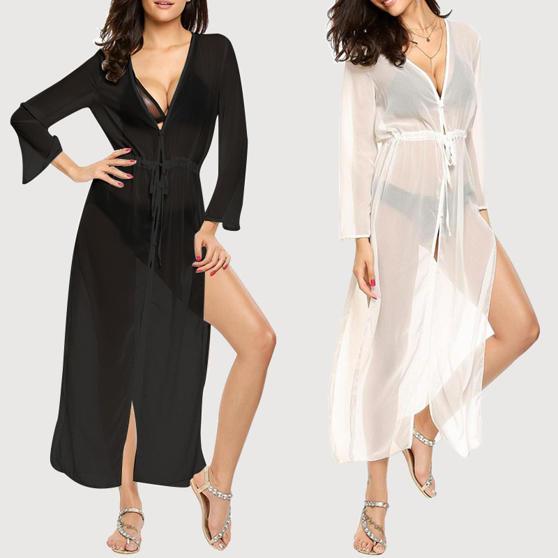 Celmia Women Bikini Cover Up Summer 2018 Sexy Blouse Beach Dress Swimwear Beachwear Bathing Suit See Through Kimono Cape Shirts