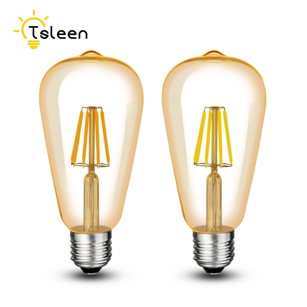 Tsleen 6x Vintage Led Filament Light Bulb 2200k Gold Tint Edison T45 Tubular Style Decorative Lighting E27 4 8 12 16w St64