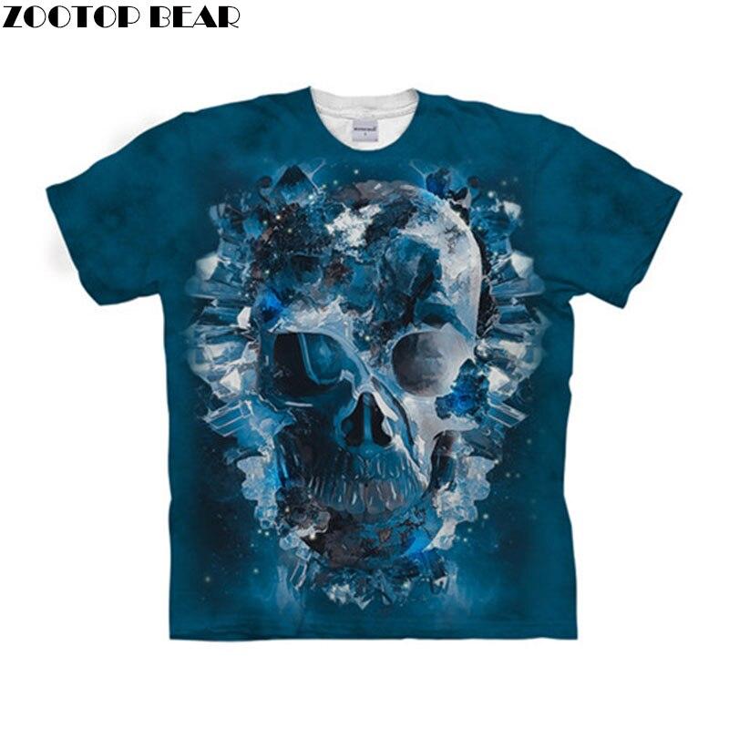 Skull t shirt 3d t-shirt Men Women tshirt Short Sleeve tshirt Unisex Top Streetwear Tee Brand Camiseta 6xl Drop Ship ZOOTOP BEAR
