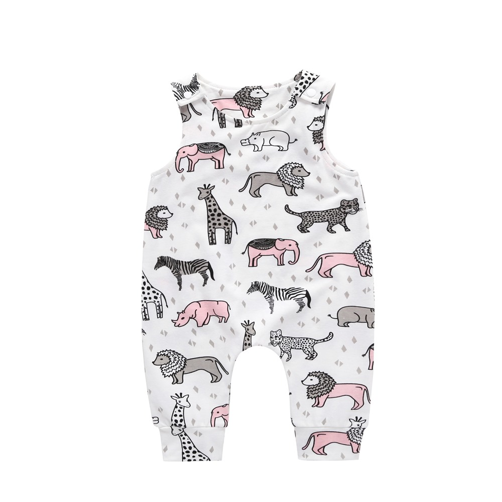 Summer 2018 New Newborn Infant Baby Girl Boy Cactus Elephant Giraffe Printed   Romper   Sleeveless Jumpsuit Kids Playsuit Outfit