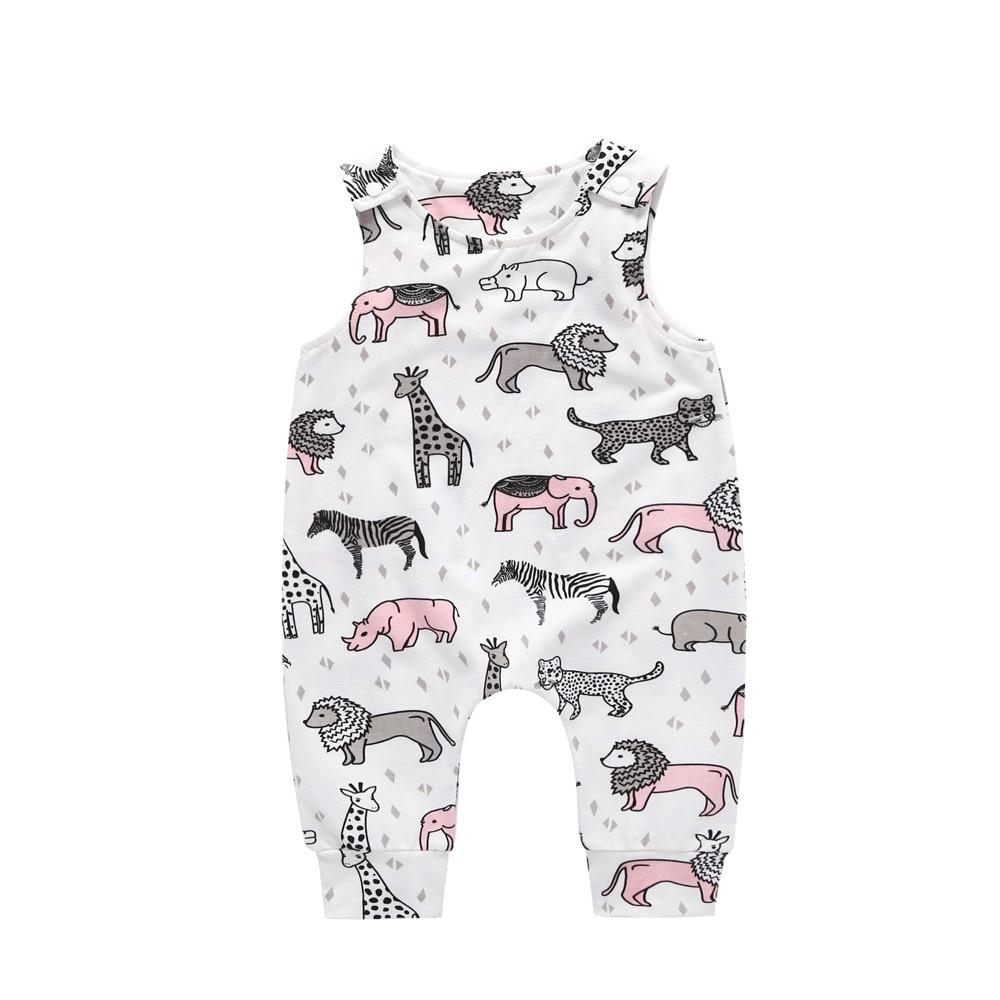 Summer 2018 New Newborn Infant Baby Girl Boy Cactus Elephant Giraffe Printed   Romper   Sleeveless Jumpsuit Kids Playsuit Outfit