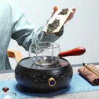 Electric Pottery Furnace Tea Pot 4 File Mute Mini Knob Control Tea Hot Water Boiler Black Microlite Panel Stove Boiling Machine