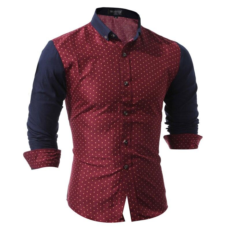 Brand 2017 Fashion Male Shirt Long-Sleeves Tops Fashion Splicing Small Mushrooms Mens Dress Shirts Slim Men Shirt 3XL