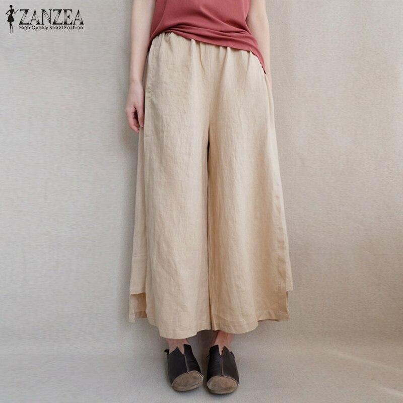 2019 ZANZEA Women   Wide     Leg     Pants   Casual Elastic Waist Cotton Linen Loose Pantalon Flare Trousers Streetwear Sweatpants Plus Size