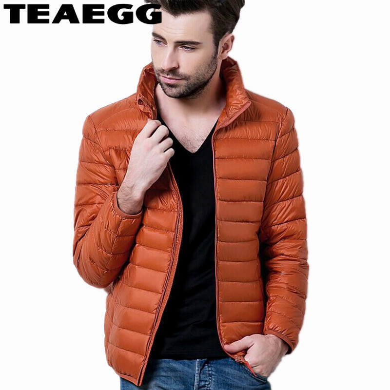 TEAEGG Casual Brand 90 % White Duck Down Jacket Men Autumn Winter Warm Coat Mens Ultralight Duck Down Jacket Male Parka AL712