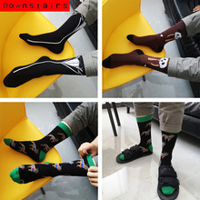 Downstairs Quality Mens Happy Socks 27Colors Streetwear Hip Hop Young Man Fashion Combed Cotton Calcetines Largos Hombre