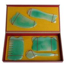 Good quality! SPA Guasha Beauty face kit Green Resin 5 pieces/set
