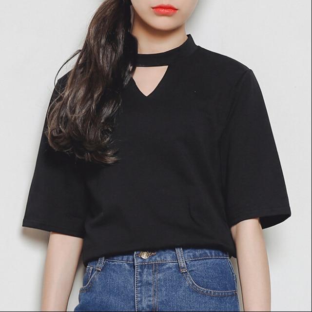 Harajuku 2017 Korea women summer style punk wind casual t-shirts girlfriend fashion triangle hollow out short sleeve T-shirti