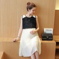 2017 pregnant women dress summer new Korean Pleated Chiffon sleeveless loose Maternity lace patchwork o neck dresses