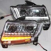 2011 2014 фара для Jeep Компасы свет голову черный Цвет PW