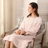 Winter Nightgown Lace Stitching Long Sleeve Flannel Night Dress White Pink Blue Robe Femme Nightwear Night