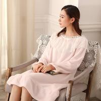 Winter Nightgown Lace Stitching Long Sleeve Flannel Night Dress White Pink Blue Robe Femme Nightwear Night