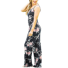 Women Sexy Spaghetti Strap Jumpsuits New Summer Sleeveless Floral Print