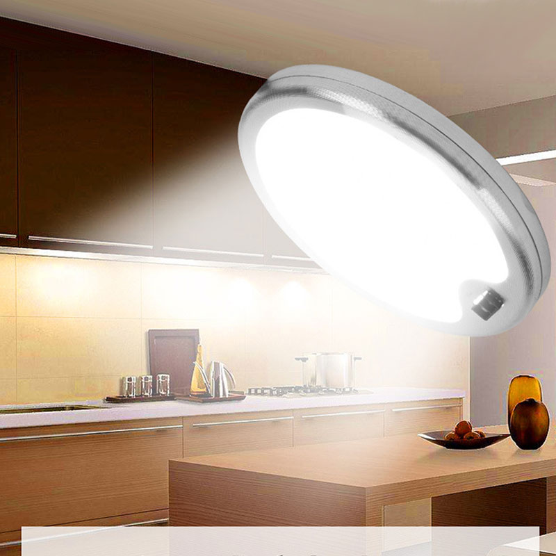 Us 10 2 25 Off Led Under Cabinet Lighting 5w Dc12v Ultra Thin Round Showcase Hanging Downlights Closet Wardrobe Hand Wave Switch Ir Lamps In