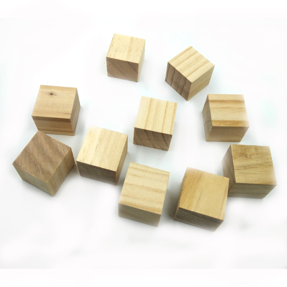 ANGRLY 10pcs Wooden Square Cube Block 2.5*2.5*2.5cm For DIY Stamp Manual Architectural Building Model Children's Toy Wood Chips