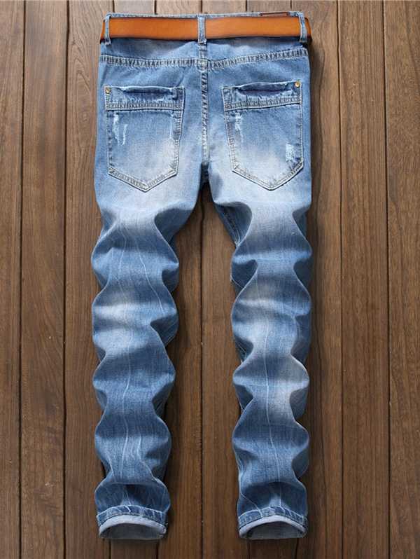 Men Jeans Ripped Design Fashion Washed Destroyed Jeans Zipper Denim Slim Fit Jean Pants Male Trousers Washed Cotton