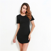 S-L 2Colors Womens Tops Long Style T shirt Causal Loose Split Solid Woment Summer Ladies Girls T-shirt Tee Women