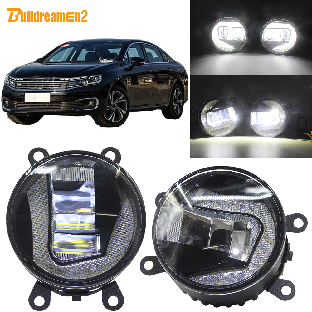 Buildreamen2 Car LED Projector Front Fog Light + DRL Daytime Running Lamp White 90mm 12V For Citroen C6 TD_ Saloon 2005-2015Buildreamen2 Car LED Projector Front Fog Light + DRL Daytime Running Lamp White 90mm 12V For Citroen C6 TD_ Saloon 2005-2015