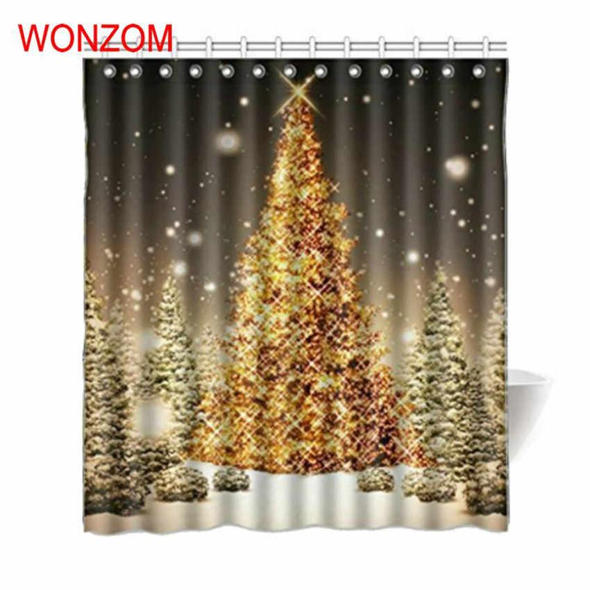 פוליאסטר בד אמבט Cuntain WONZOM עץ חג המולד תפאורה חדר אמבטיה וילונות מודרני עמיד למים לאמבטיה 2017 מתנה לחג המולד