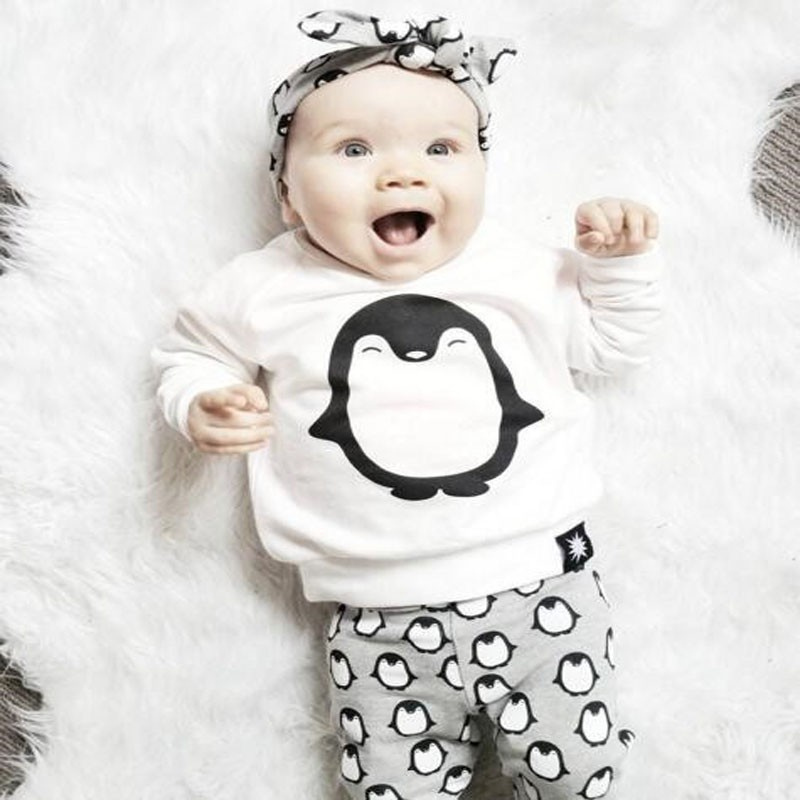 Newborn baby girls clothes Autumn Long sleeves Penguin 3pcs Boy clothing sets Tops+Pants+Headband Cartoon Infants costume