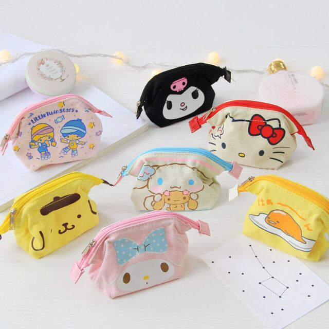 Kawaii My Melody Little Twin Stars Gudetama Cinnamoroll Pudding Canvas Zipper Coin Purse Mini Grocery Storage Bag