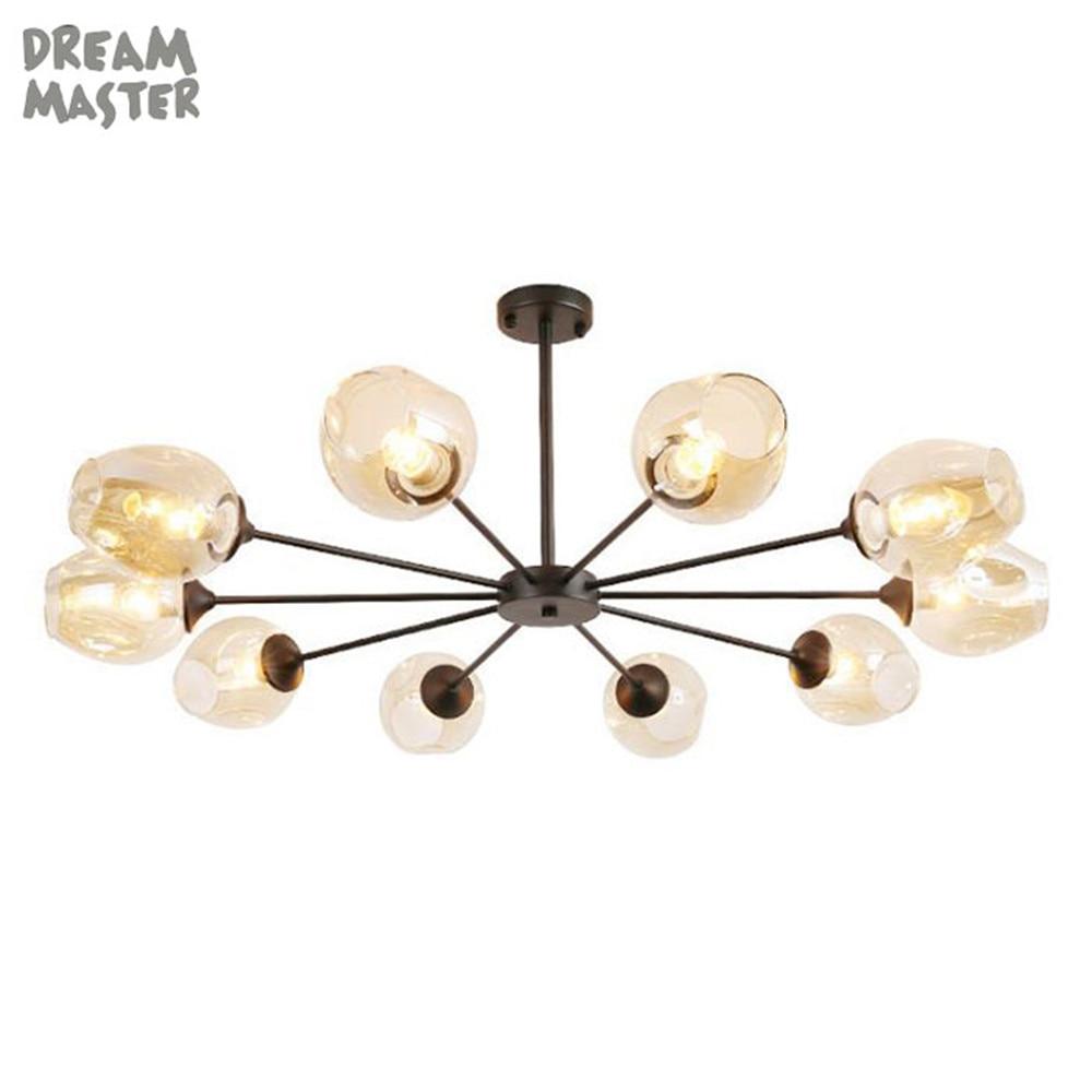 Modern art pendant lights, cognac glass shade decor lustre lamp, black silver metal hanging light for dining room kitchen lamps цена