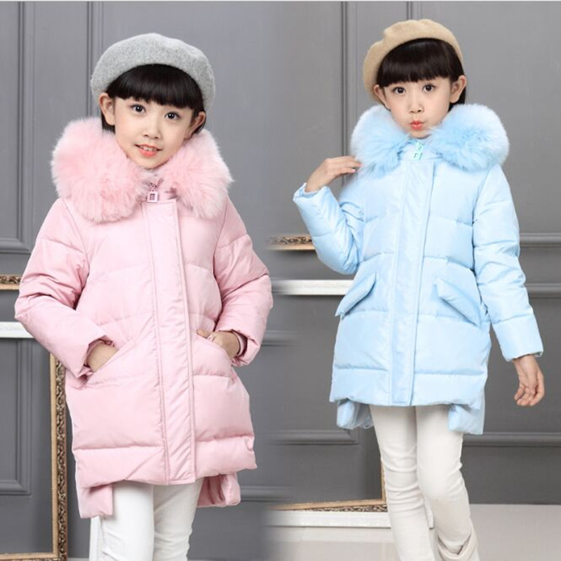 цена на Winter 2019 Children's Down Jacket Girls Winter Coat Fashion Fur Collar Thick Warm Down & Parkas Girls Jacket Winter Fit 6-10T