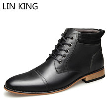 LIN KING High Quality Big Size Genuine Leather Men Boots Spring Autumn Ankle Boots Man Fashion Lace-up Boots Male Zipper Botas genuine leather boots women 2016 new arrival women ankle boots fashion spring autumn womens boots big size 34 41 free shipping
