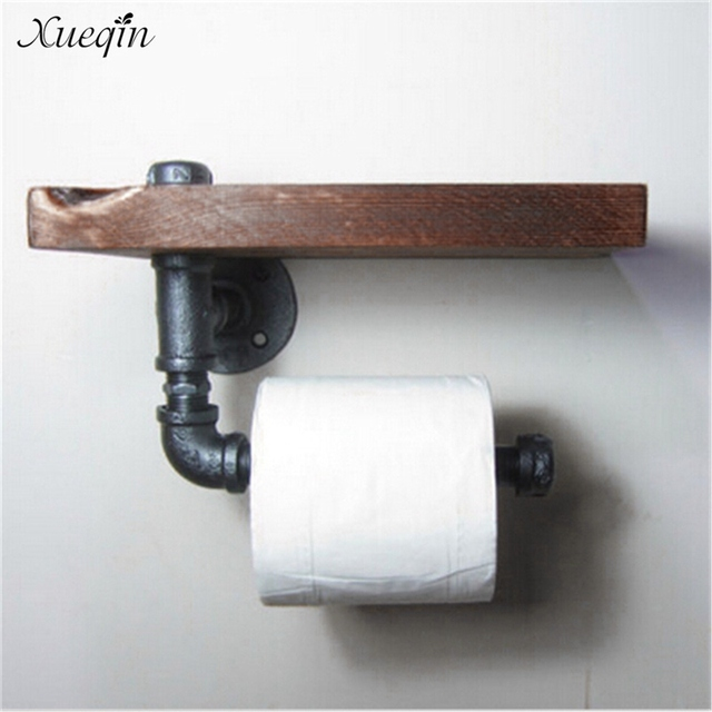 Xueqin High Quality Retro Iron Toilet Paper Holder Bathroom Hotel Roll Paper  Tissue Hanging Rack Wooden. Xueqin High Quality Retro Iron Toilet Paper Holder Bathroom Hotel