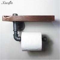 Xueqin Yüksek Kalite Retro Demir Tuvalet Kağıdı Tutucu Banyo Otel Rulo Kağıt Doku Asılı Raf Ahşap Raf