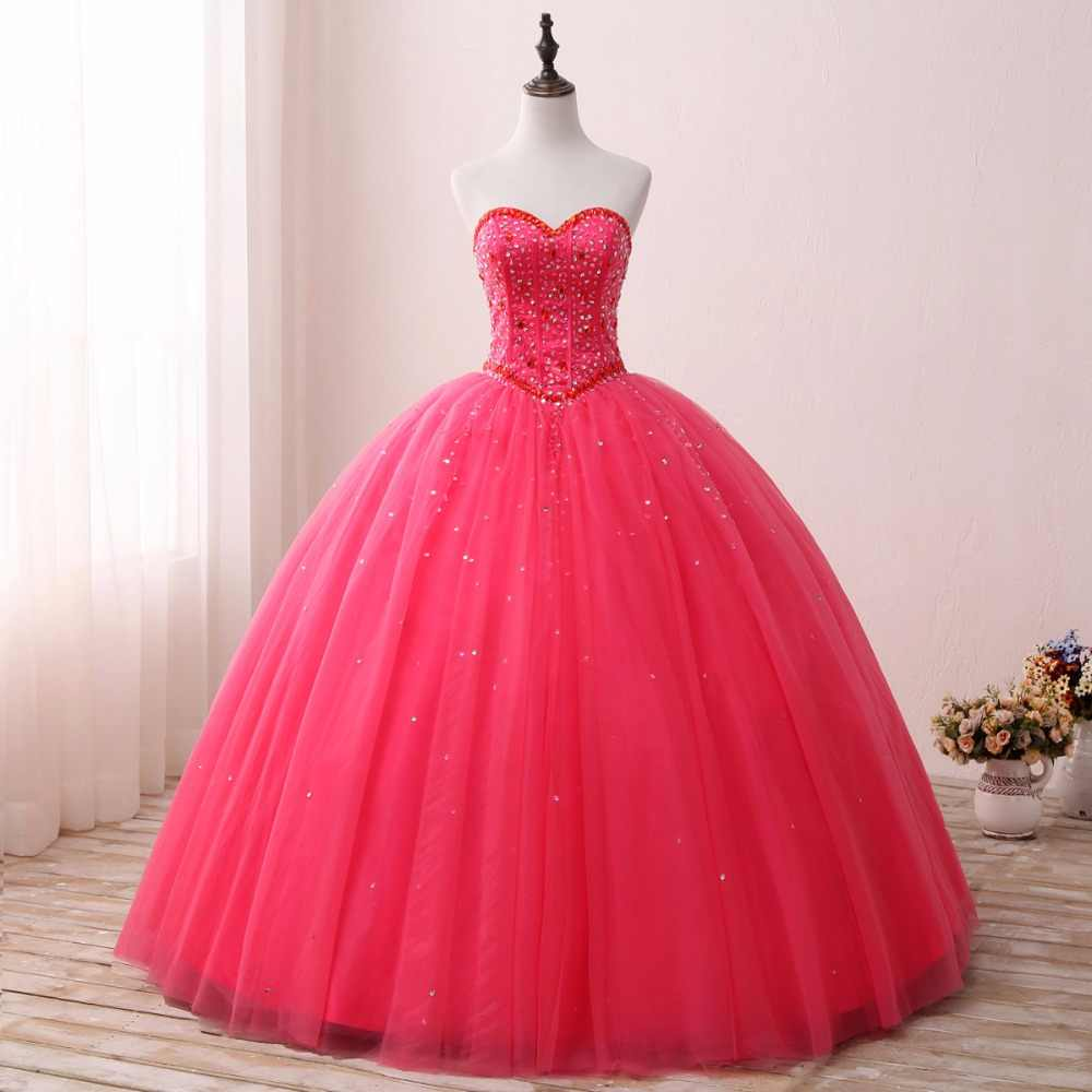 2019 hot pink Quinceanera Dresses for 15 years Backless Beaded Tulle Ball  Gown Vestidos De 15 efa1bb68e4e3