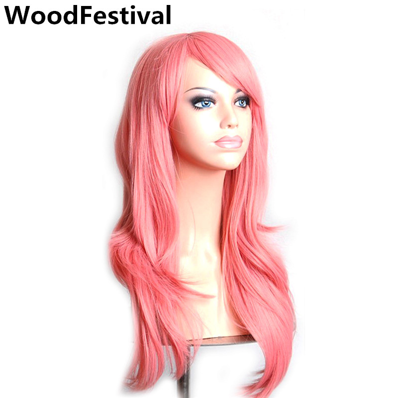 WoodFestival 70 Cm Women Long Wavy Synthetic Wig Heat Resistant Pink Red Green Brown Purple Black Blue Cosplay Wigs