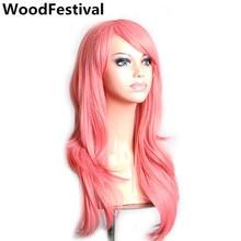 WoodFestival women wigs synthetic hair long wavy blonde pink red green brown purple black white dark blue wig 70 cm female