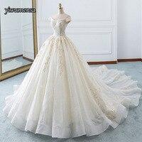 Vestido De Noiva Вуаль Тюль бальное платье с коротким рукавом торжественное платье изготовление под заказ на шнуровке Свадебные платья халат de marié