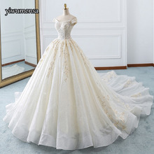 Vestido De Noiva Voile Tulle Ball gown Short sleeves wedding dress custom made Lace-up Bridal gown dresses robe de mariee 2018