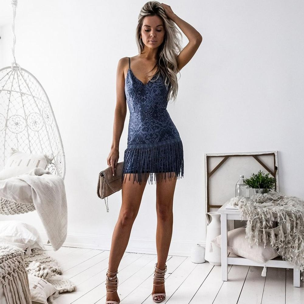 V Neck Blue Homecoming Dresses Short Mini Sexy Sheath V Back Graduation Dress With Tassel  Real Dress