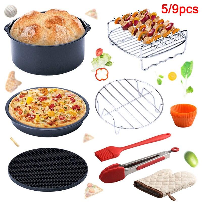 5 Pcs/9pcs Set Air Fryer Pan Kit Electric Deep Fryer with Baking Basket Pizza Plate Grill Pot HY99 NO28