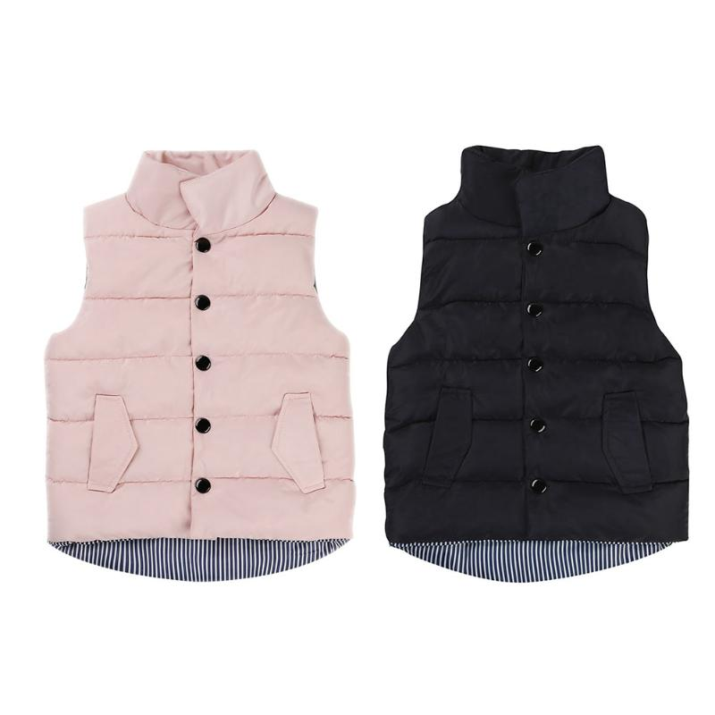 цена на Spring/Autumn/Winter Children Waistcoat Boys Girls Thick Vest Coat Stand Collar Solid Button Padded Warm Sleeveless Jacket coat