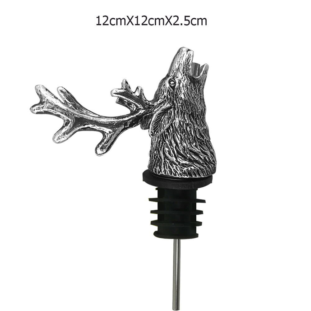 Unique New Stainless Steel Deer Stag Head Wine Pourer Wine Bottle Stoppers Wine Aerators Bar Tools With Box in Wine Pourers from Home Garden