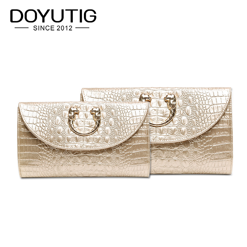 Envelope-Bag Clutch-Bag Genuine-Leather Women's Golden Fashion with Two-Sizes for Choose