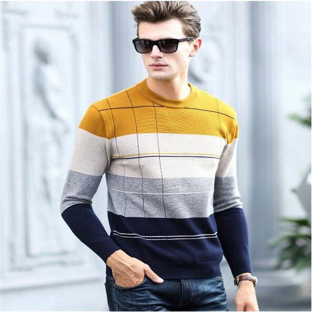 2016New Outono Inverno Xadrez O-pescoço Pulôver Dos Homens de Alta Qualidade Slim Fit Camisola Dos Homens Puxar Homme Sudaderas Mens Sweaters A2247