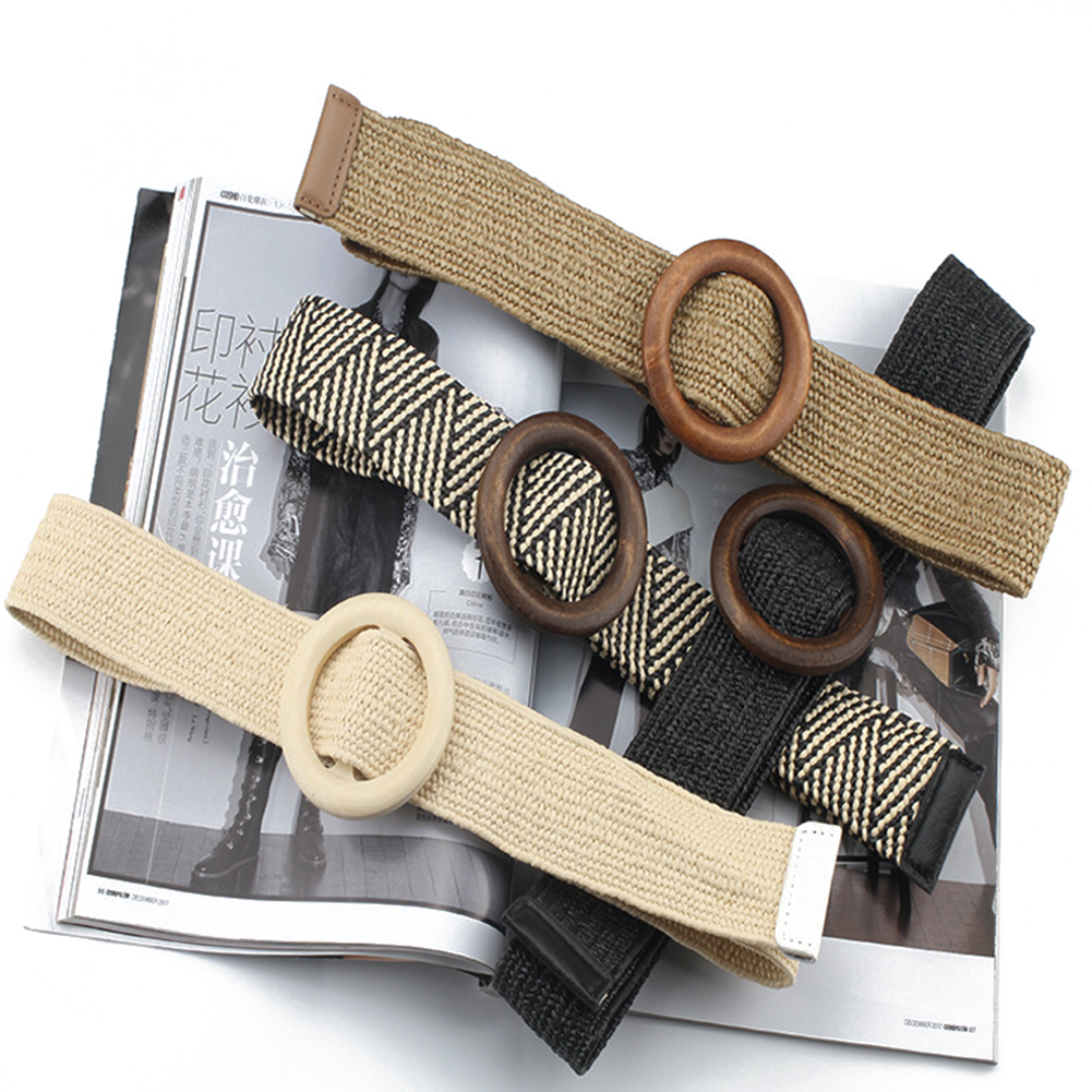 New Vintage Boho Braided Waist Belt With Round Wooden Smooth Buckle 95cm Knitted Fake Straw Wide Belt Women Harajuku Dress Belts