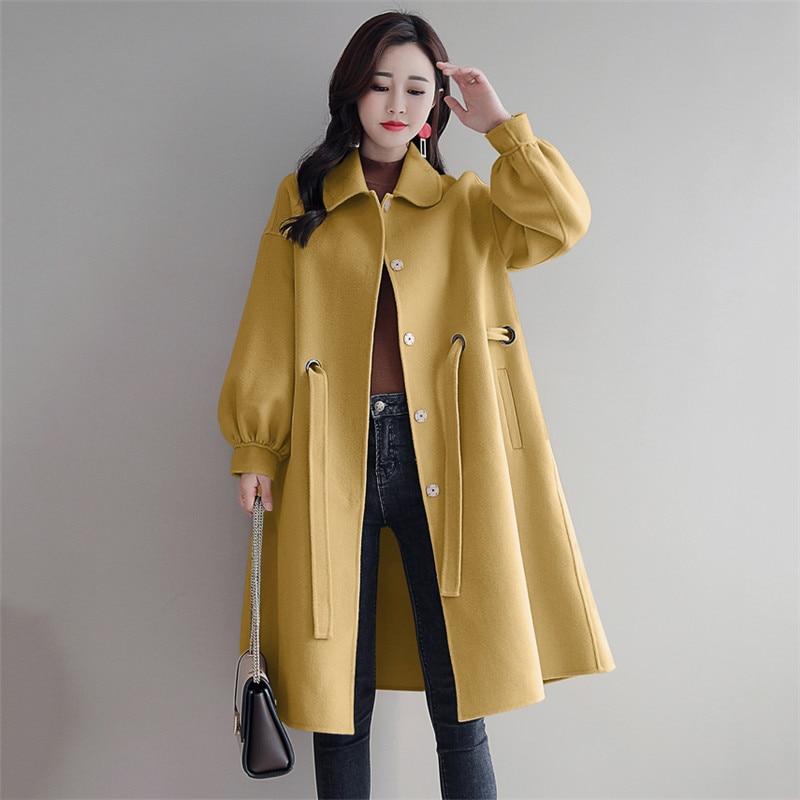 Beige Long De Moyen yellow Vs131 Laine Hiver Automne Veste Manteau blue Parkas Revers Femelle Nouveau Lâche Coréennes Femmes red Survêtement Mode T7qFEFxP