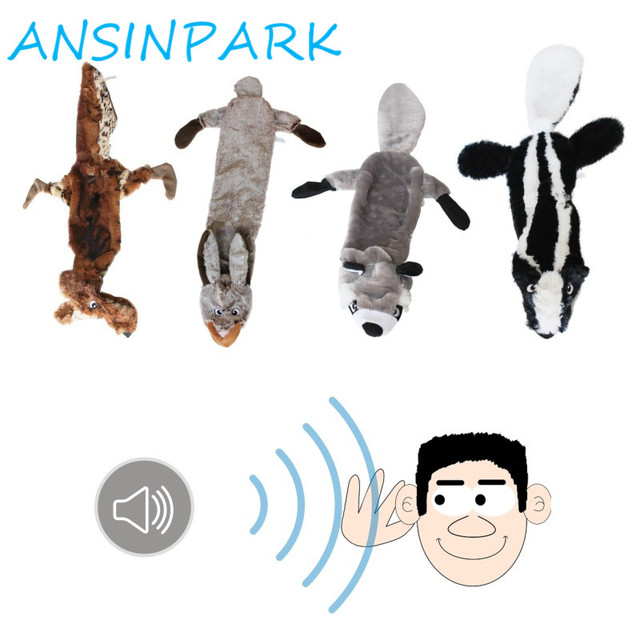 ANSINPARK cute plush toys squeak pet wolf rabbit animal plush toy dog chew squeaky whistling involved squirrel dog toys G666 1